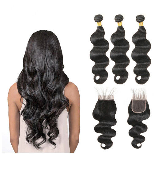 Middle Part 100% Peruvian Body Wave Hair Bundles Full And Thick